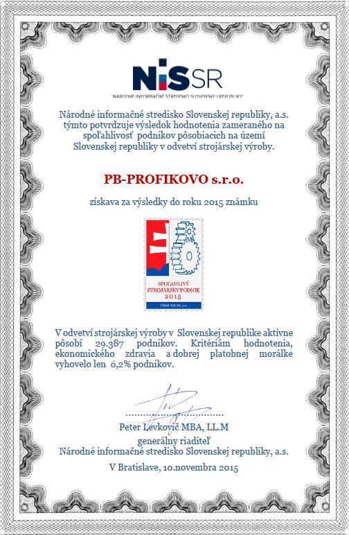 8867d82af Známka Spoľahlivý strojársky podnik odzrkadľuje neustále napredovanie  spoločnosti a upevňovanie si pozície na trhu, ale taktiež vysokú kvalitu,  ...